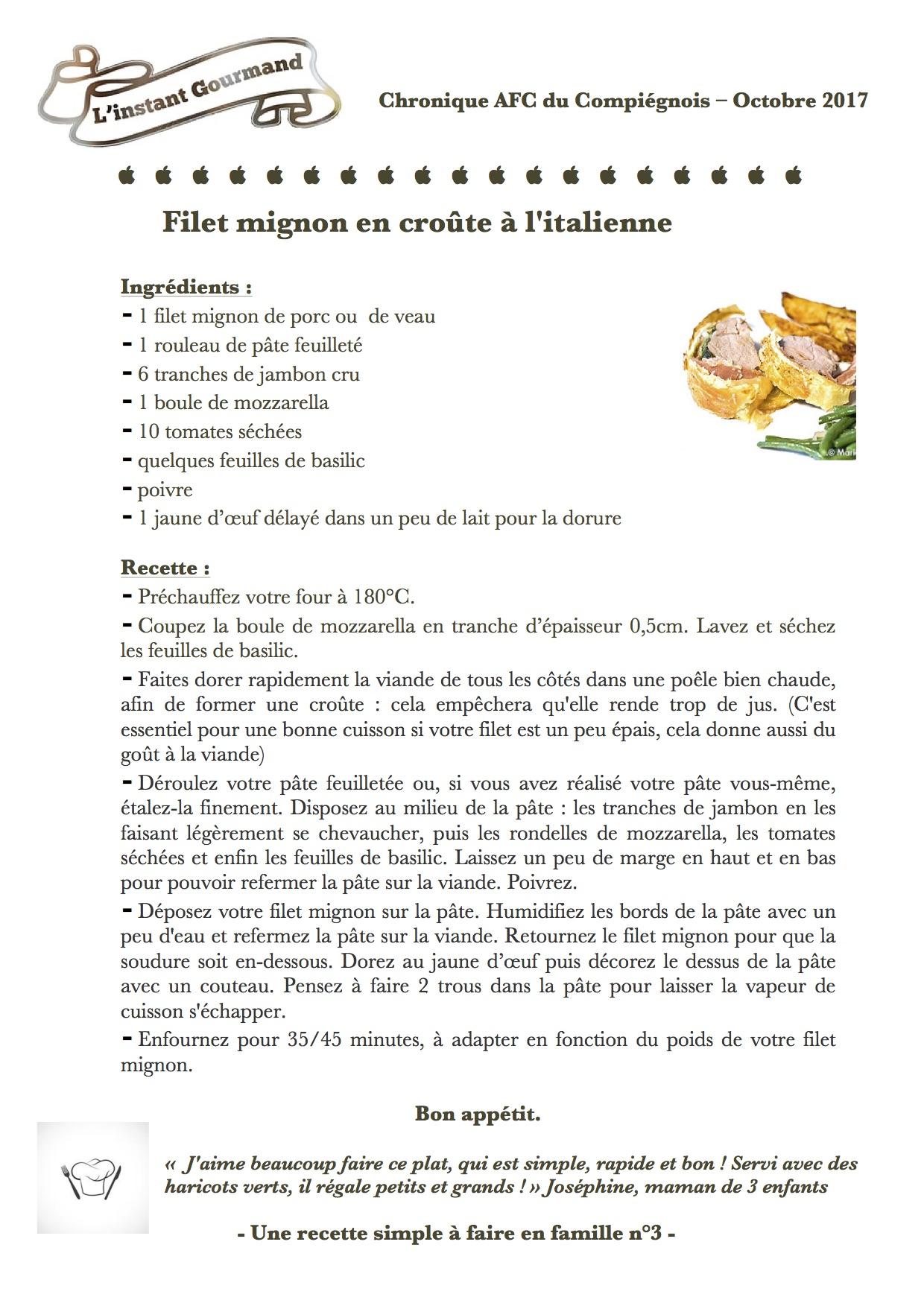 Chronique L'instant gourmand Octobre 2017