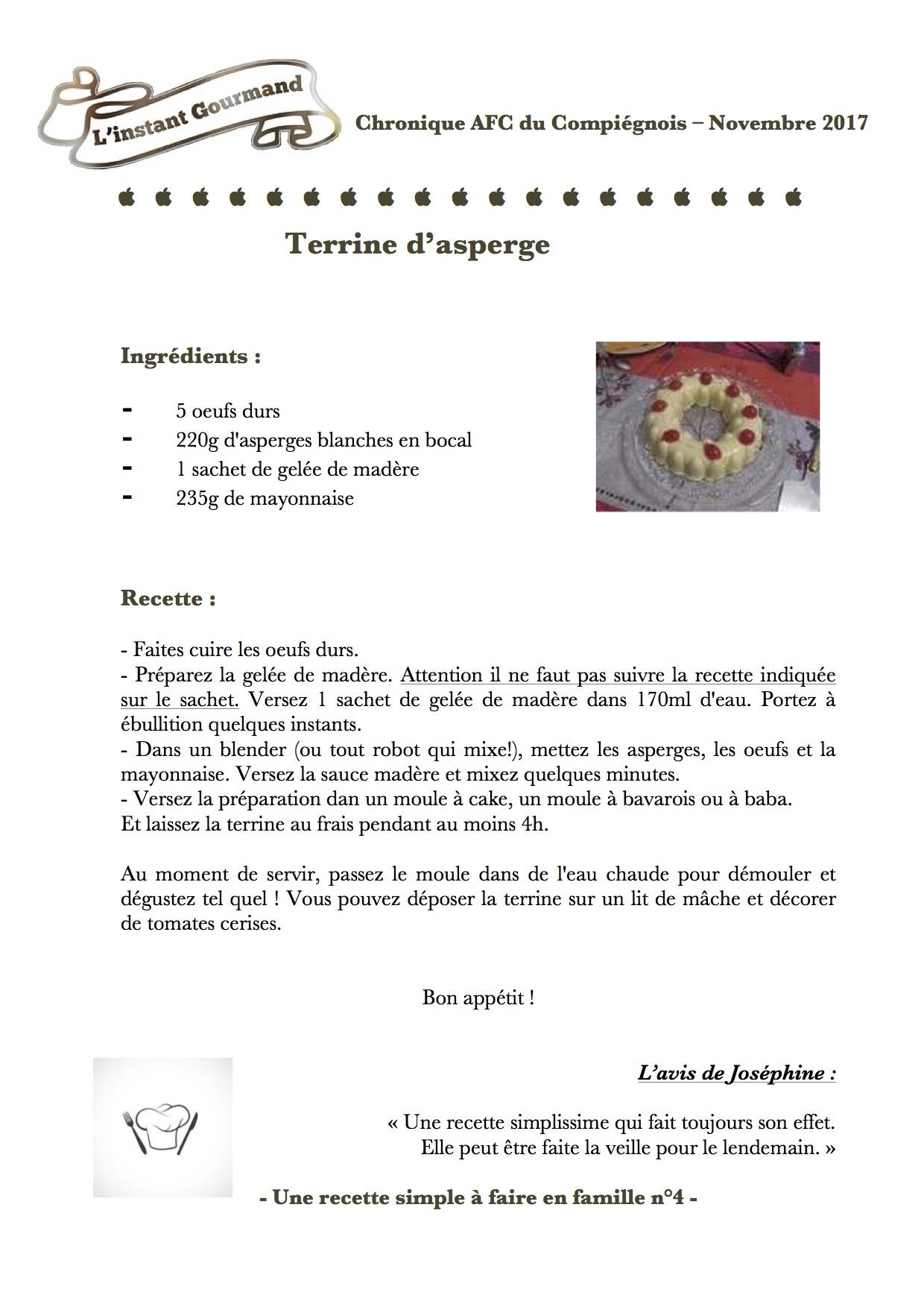 Chronique L'instant gourmand 4 Novembre 2017