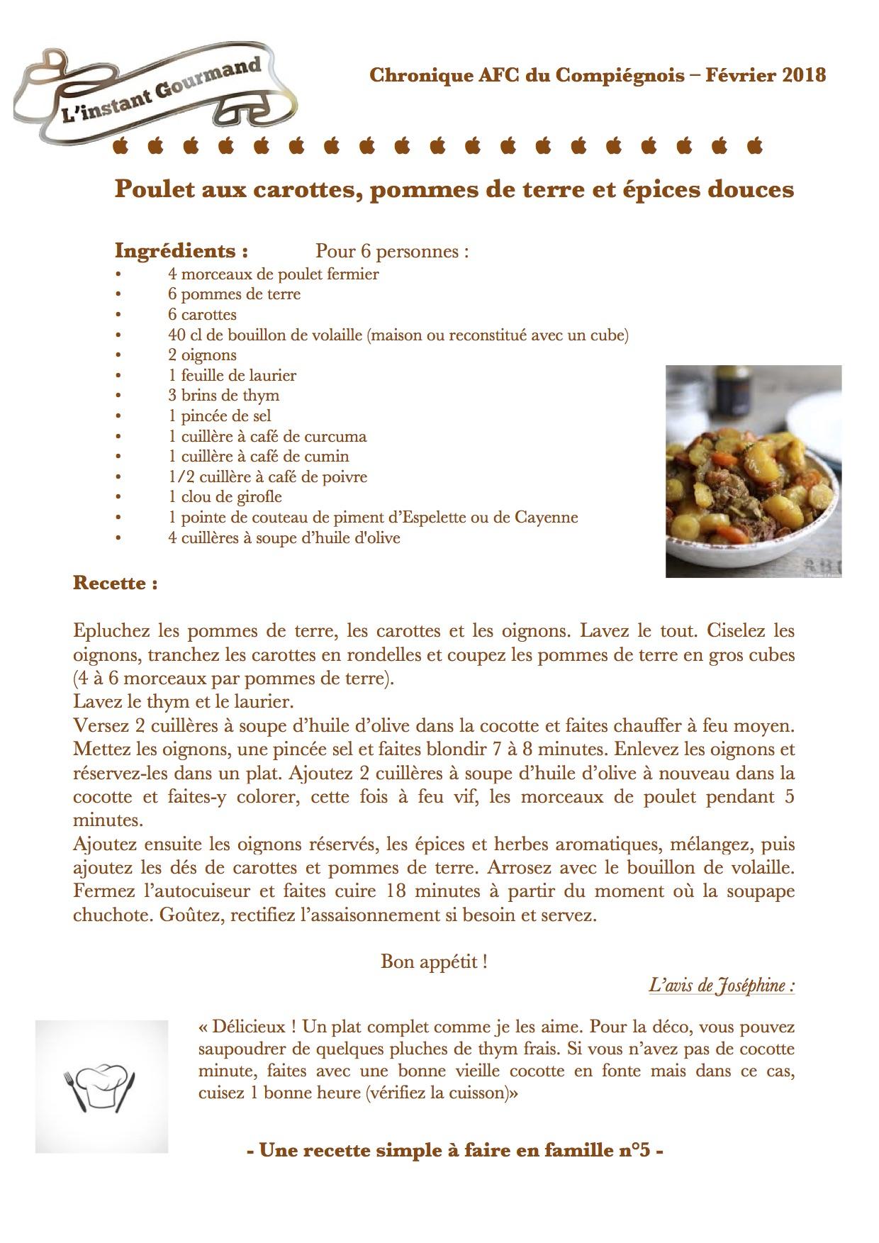 Chronique L'instant gourmand 5 Février 2018